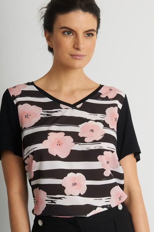 Blusa Decote V Crepe Floral E Listras