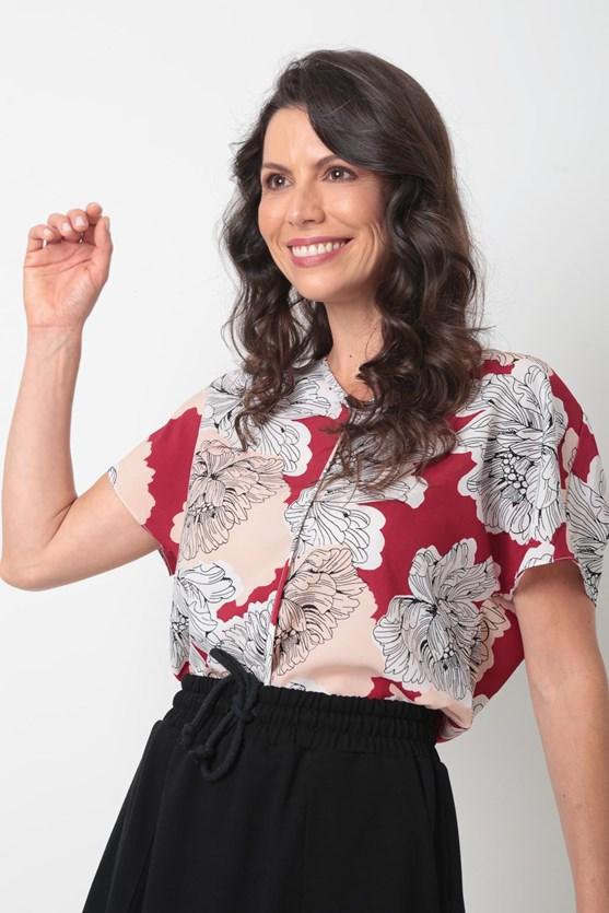 Blusa Decote V Crepe Flores