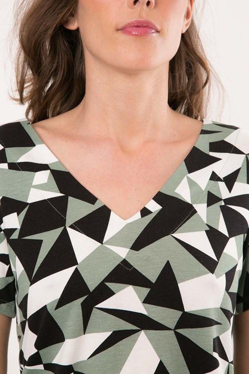 Blusa Decote V Duplo Viscolycra Mosaico