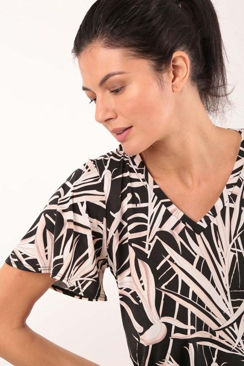 Blusa Decote V Flores Bicolor Jersey
