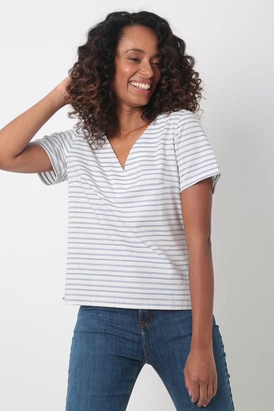 Blusa decote v listrada abertura lateral off white