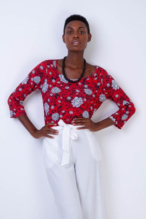 Blusa Decote V Malha Tricot Flores E Folhas