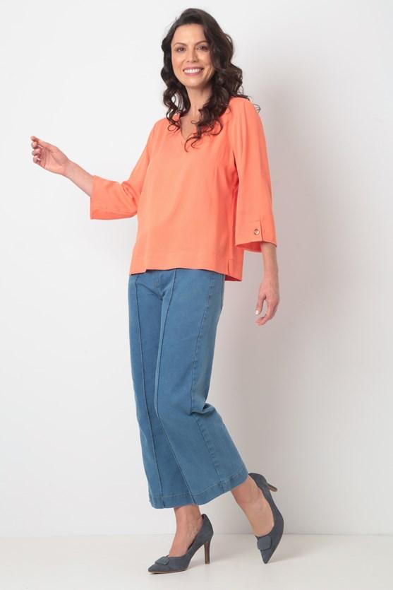 Blusa decote v manga 3/4 viscose laranja coral