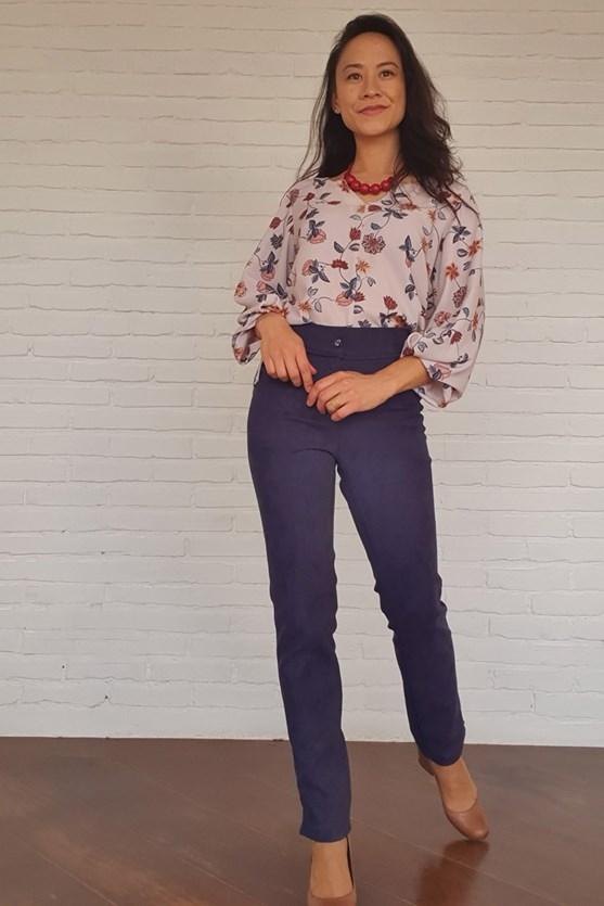 Blusa decote v manga 7/8 crepe florido gipsy bg cashmere