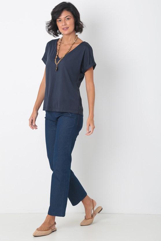 Blusa decote v manga curta azul marinho