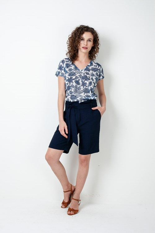 Blusa Decote V Manga Curta Blue Flower