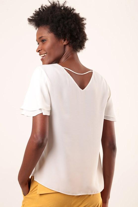 Blusa decote v manga curta dupla off white