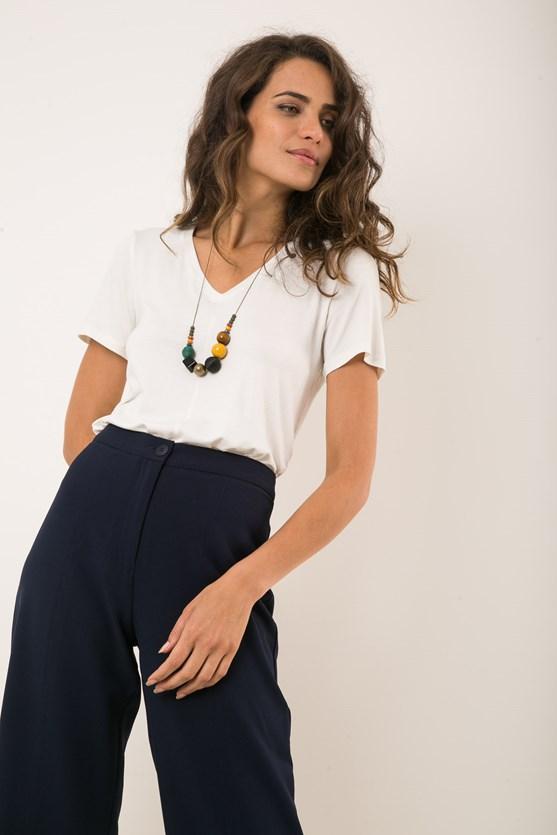 Blusa decote v manga curta essência verde 1