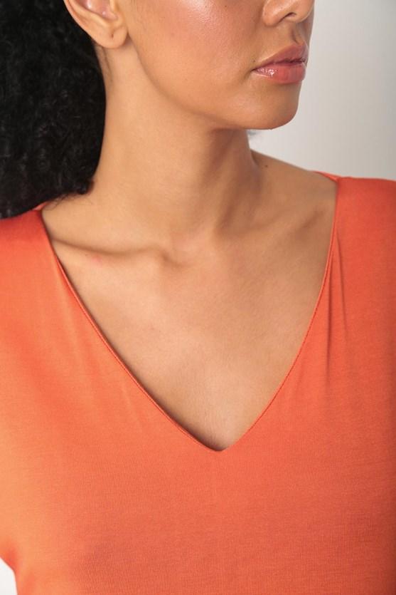 Blusa decote v manga curta laranja