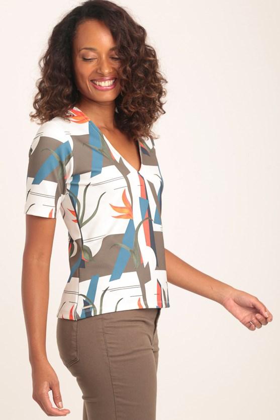 Blusa decote v manga curta piquet encontros off white