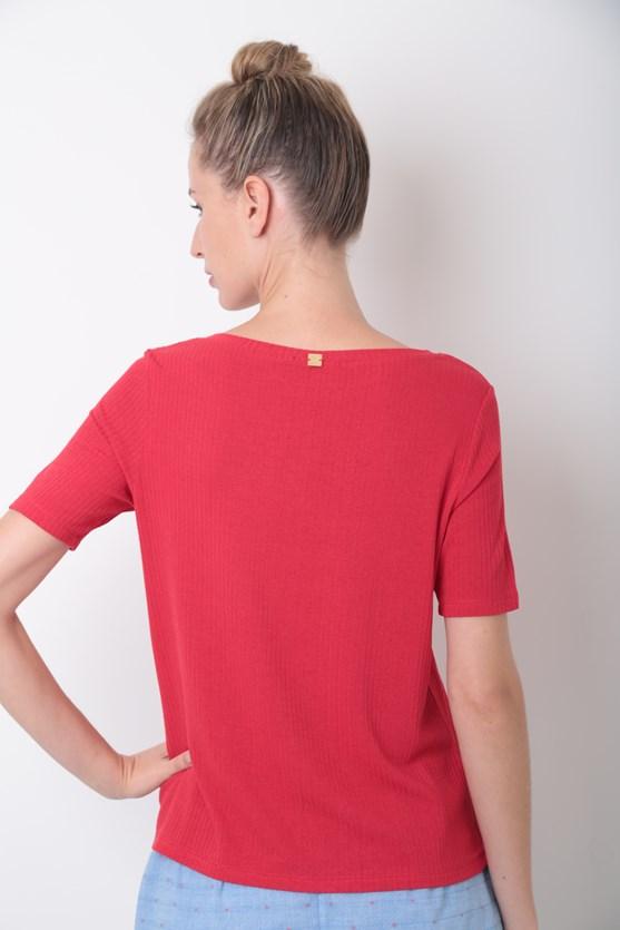 Blusa decote v manga curta rib iluminar