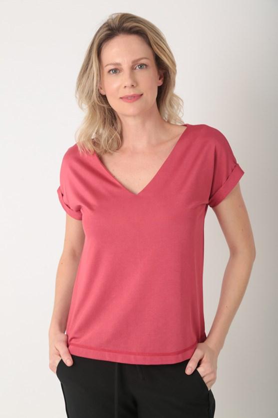 Blusa decote v manga curta vermelho