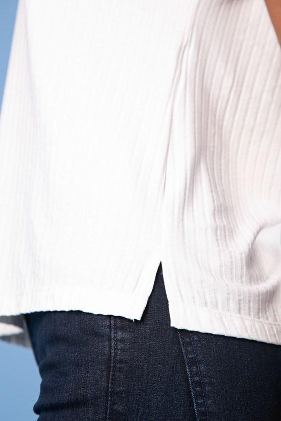 Blusa decote v manga curta viscose canelada vn florir