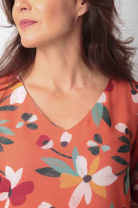 Blusa decote v manga curta viscose florir laranja