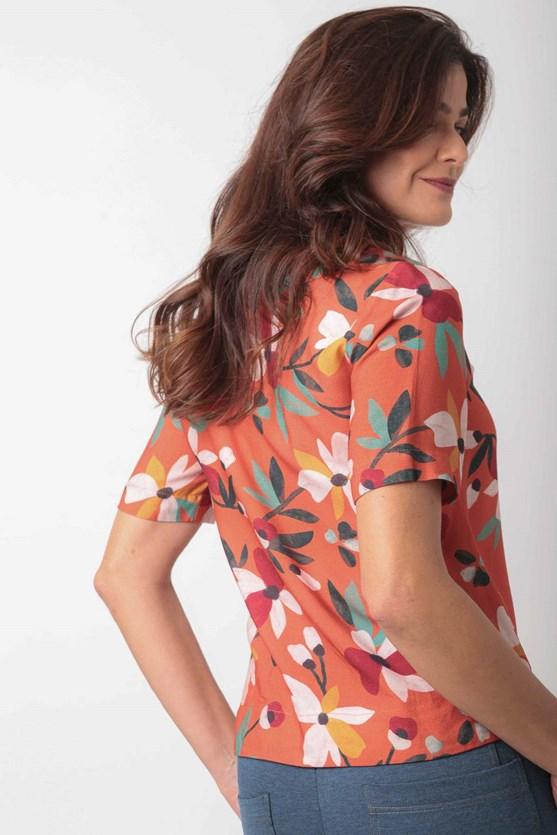 Blusa decote v manga curta viscose florir lj semear