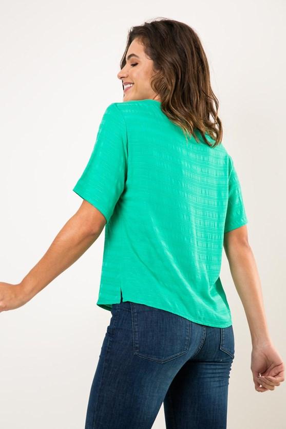 Blusa decote v manga curta viscose maquinetada verde
