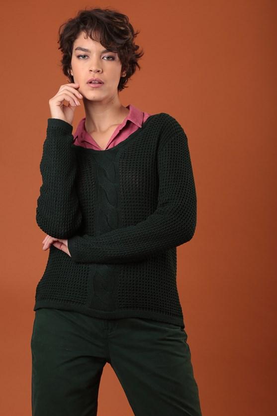 Blusa decote v manga longa trança vertical verde