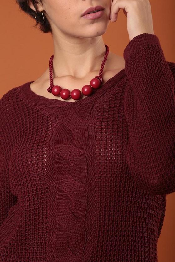 Blusa decote v manga longa trança vertical vermelho
