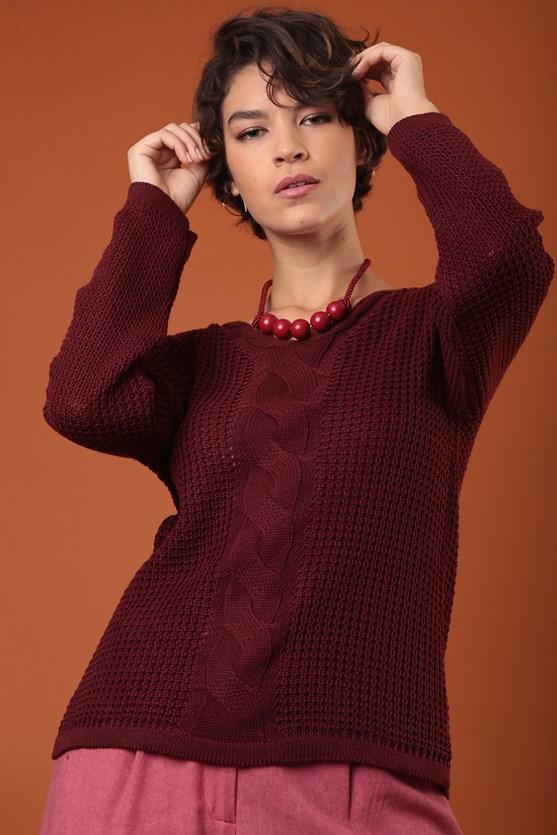 Blusa decote v manga longa trança vertical vn florir