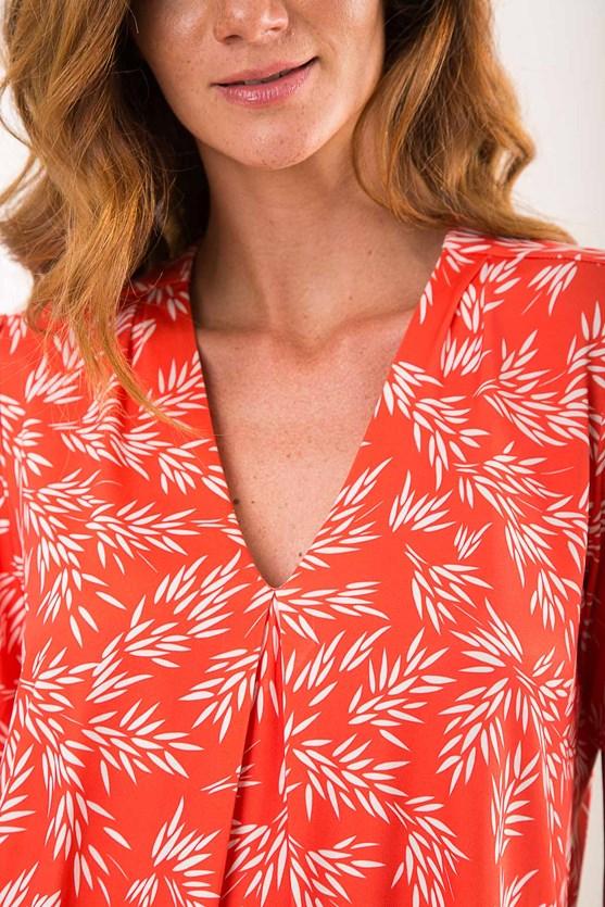 Blusa decote v prega jersey brisa de verão lj paisagem