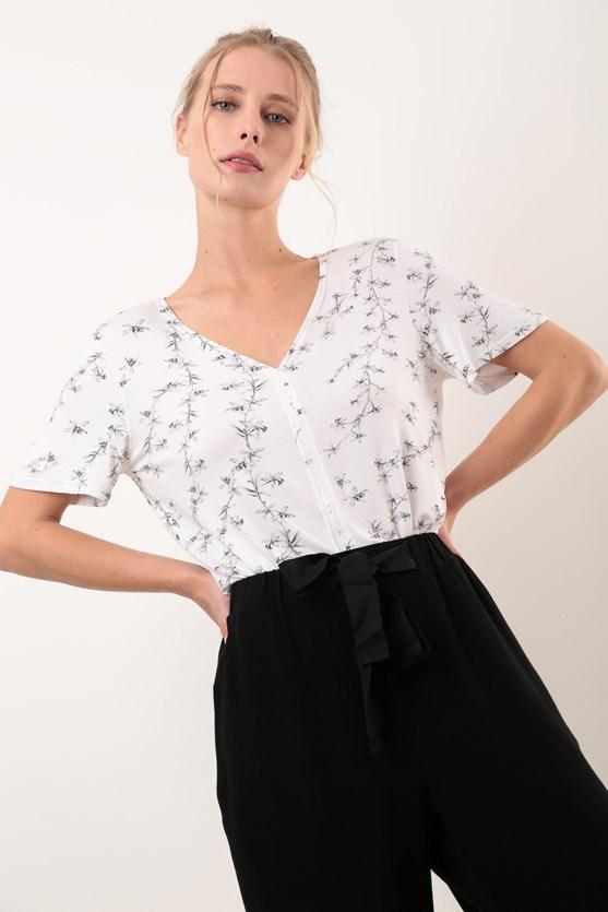Produto Blusa Decote V Recorte Trançadeira Orquídeas