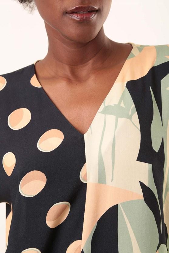Blusa decote v recorte viscose pois abstrato azul marinho