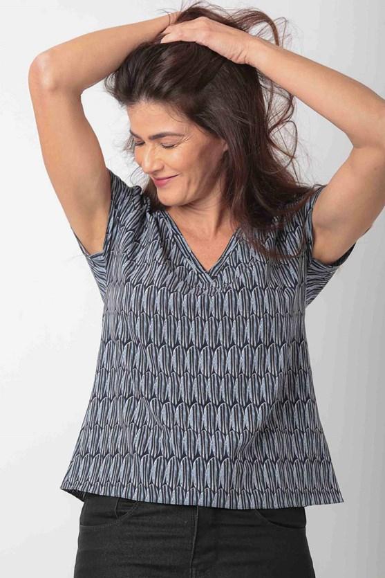 Produto Blusa Decote V Sem Cava Crepe Calcário
