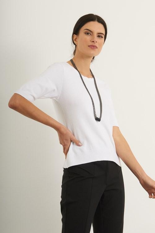 Blusa Detalhe Decote Tricot