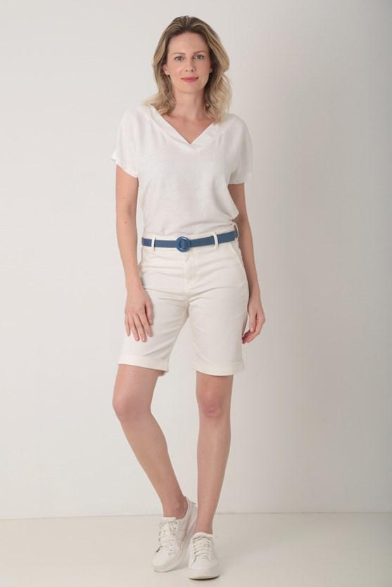Blusa dois em um viscose maquinetada off white