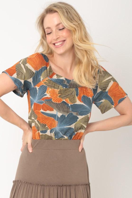 Blusa elástico decote caminho de folhas laranja