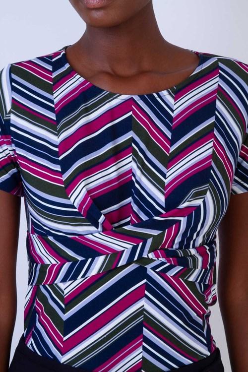 Blusa Entrelace Cintura Listras Diagonal