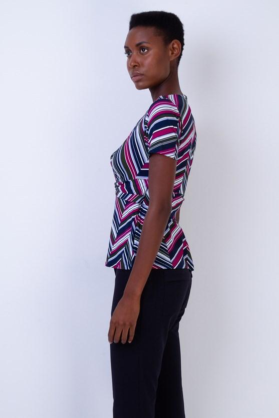 Blusa entrelace cintura listras diagonal vd militar