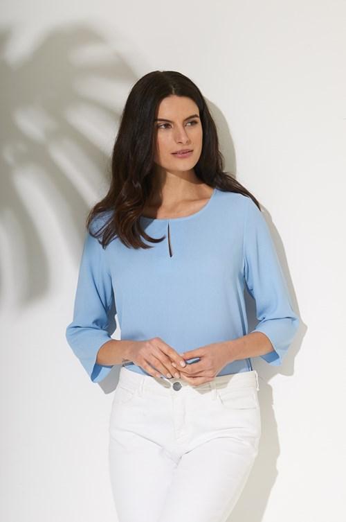 Blusa Fenda Decote Frente Crepe