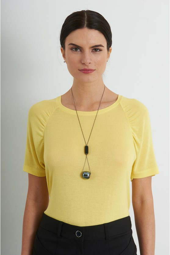 Blusa franzidos na manga malha tricot am lemonade