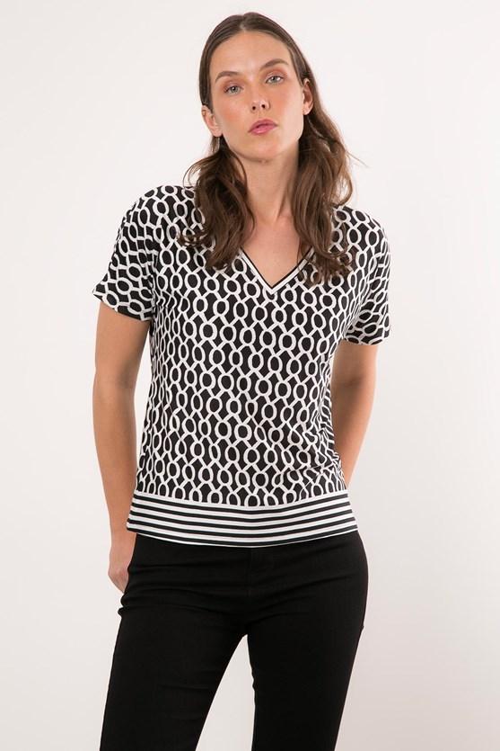 Produto Blusa Jersey Barrado Geométrico Bicolor