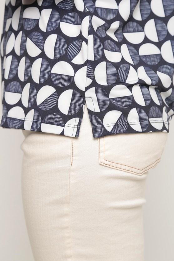 Blusa jersey decote v bolas azul marinho