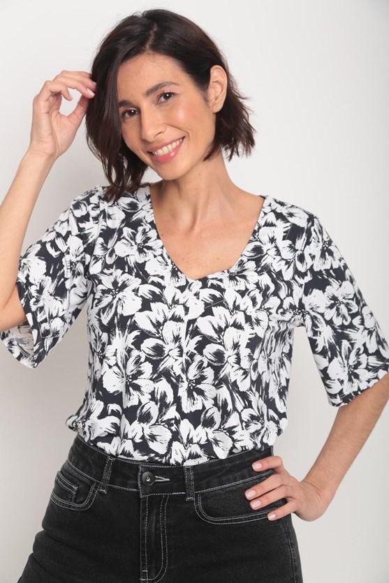 Blusa jersey fluity decote v flores pb preto