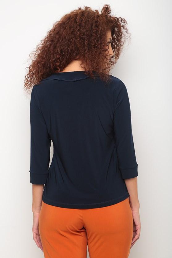 Blusa jersey manga 3/4 babado decote azul marinho