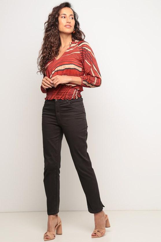 Blusa lastex barra estampa traços vermelho tijolo