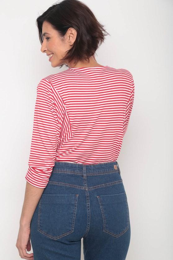 Blusa listrada recorte manga 3/4 vermelho