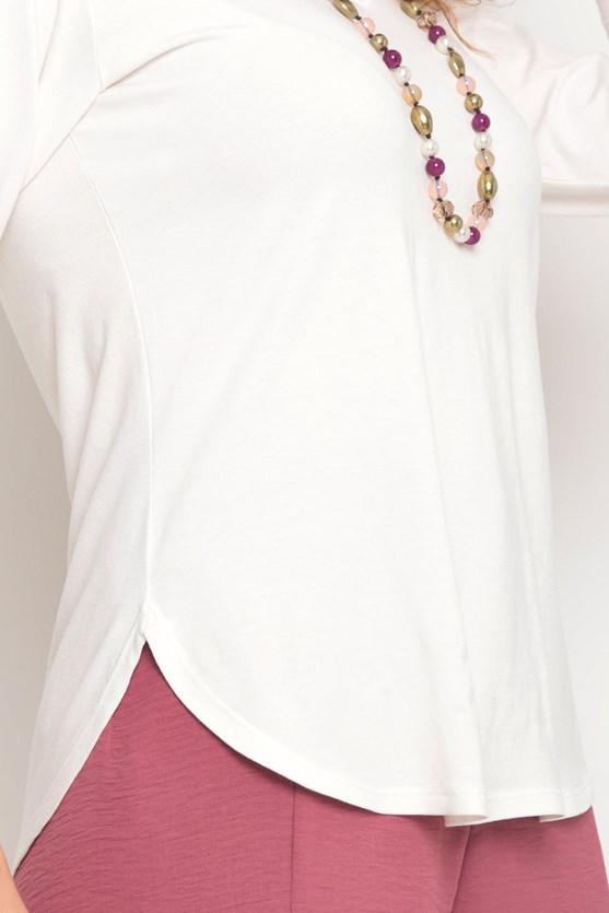 Blusa malha manga 3/4 decote v off white