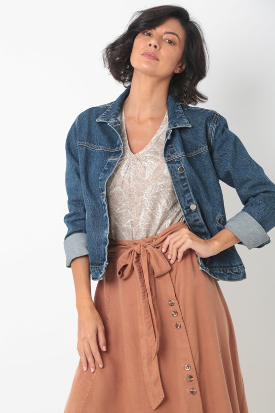 Blusa malha manga curta decote franzido bege