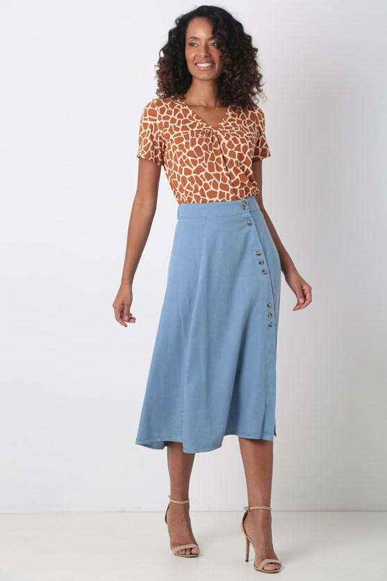 Blusa malha manga curta decote franzido laranja