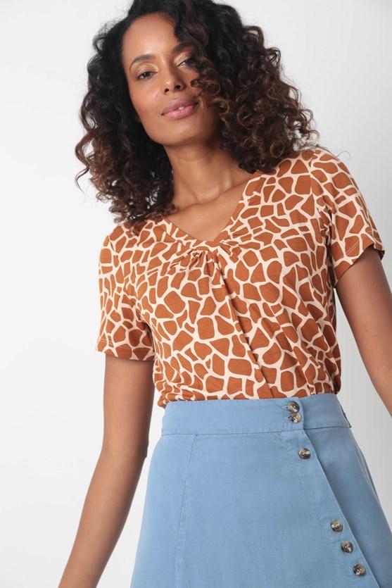 Blusa malha manga curta decote franzido lj laranja