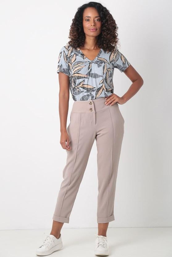 Blusa malha manga curta decote franzido turquesa