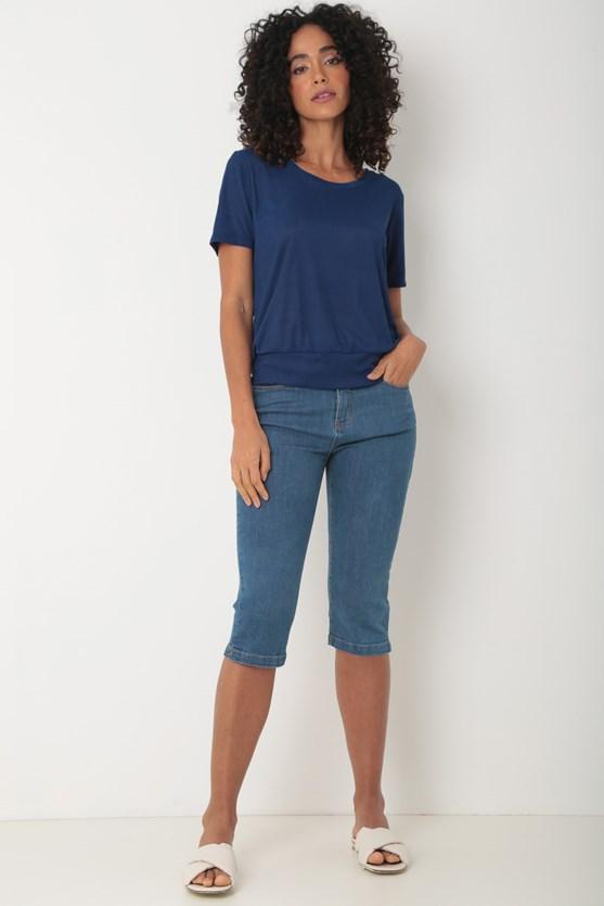 Blusa malha plissada azul marinho