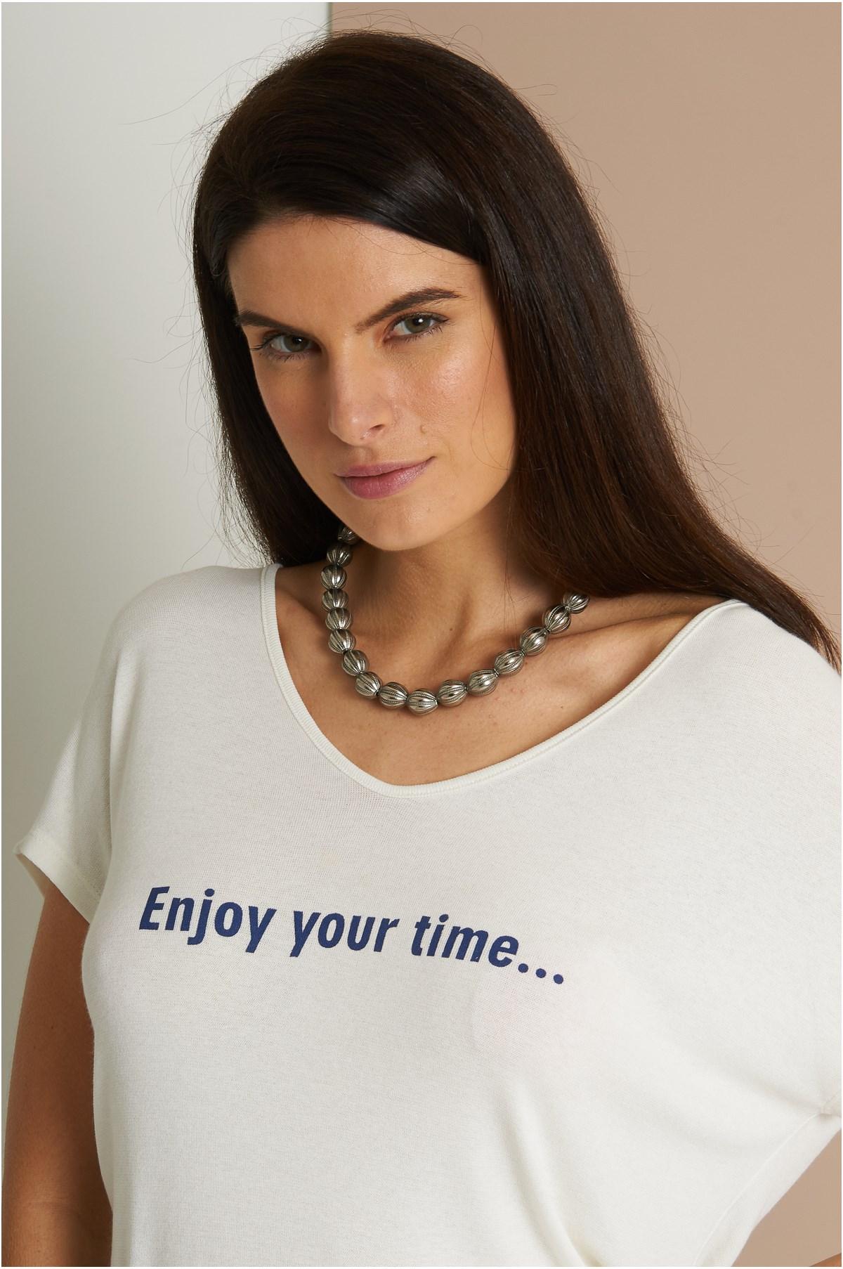 Blusa Malha Tricot Enjoy Your Time