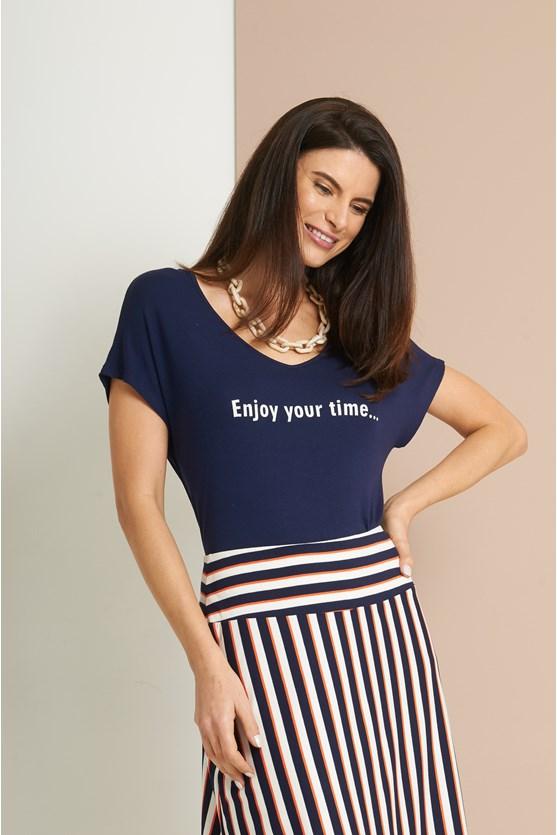 Blusa malha tricot enjoy your time  off white