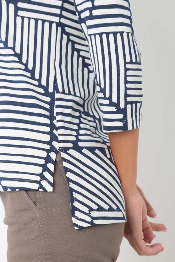 Blusa manga 3/4 decote v viscolycra azul marinho