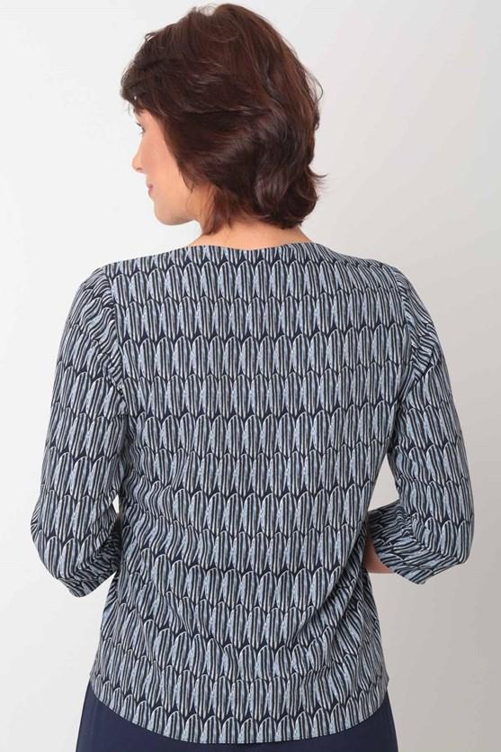 Blusa manga 3/4 gola v botões origens azul marinho